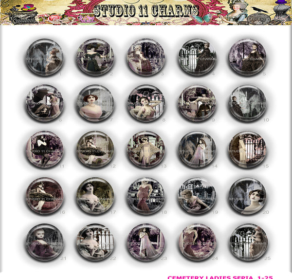 TESTING 25pcs 25mm 1 inch Bottle Cap Resin Cameo Cabochon. Cemetery Ladies 1b