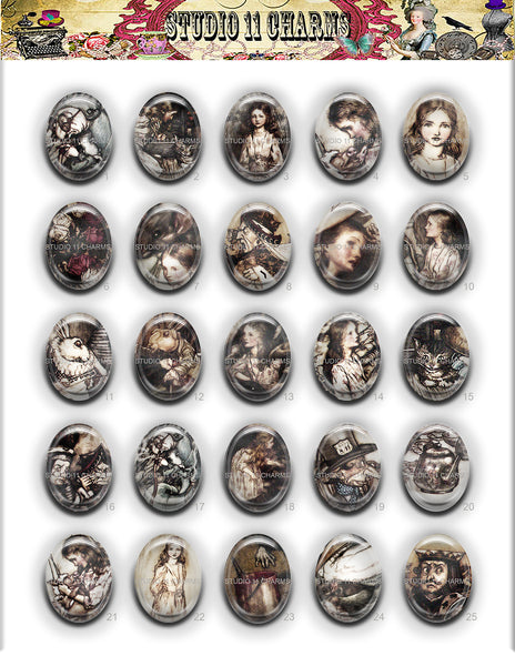 40x30, 18x25, 13X18 Resin Cameo LOW DOME Cabochon. Alice in Wonderland Rackham