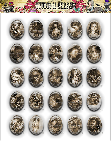 40x30, 18x25, 13X18 Resin Cameo LOW DOME Cabochon. Alice in Wonderland Rackham 2c