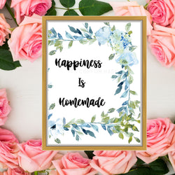 Happiness Is Homemade Wall Art Sign - Kitchen Wall Art Sign - Farmhouse Wall Art Print - Homemade Art Sign - Farmhouse Printable Wall Art Sign - Mason Jar Wall Art Print - Black and White Wall Art Sign