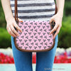 Image of Ballerina Rose (A5) Crossbody Shoulder Canvas Leather Saddle Bag