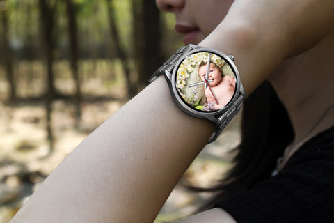 Personalized, Custom Design Your Own Silver Watch B2 Your Personal Baby Memory Photo, Gift For Her, Gift For Him