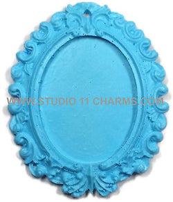 12pcs Resin Frame Setting Bezel Victorian Oval fit 40x30 cameo Blue 1.1