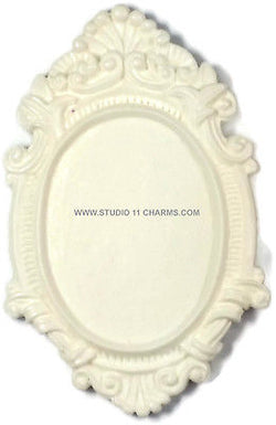 12 Resin Frame Setting Bezel Victorian Vintage Style fit 40x30 cameo White 4.3