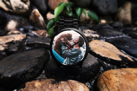 Personalized, Custom Design Your Own Black Watch With Your Personal Memory Photo (Dog), Gift For Her, Gift For Him