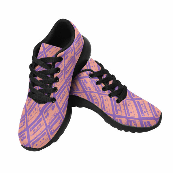 Model020 Women's Sneaker 80s Cassette Tapes Pink and Purple - STUDIO 11 COUTURE