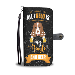 Custom Phone Wallet Available For All Phone Models Dog Beagle Beer 4b