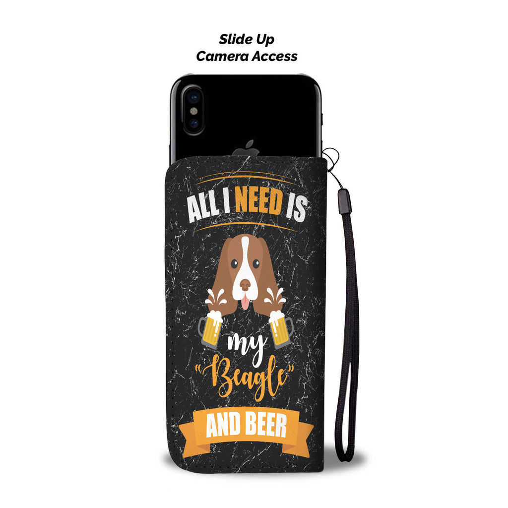 Custom Phone Wallet Available For All Phone Models Dog Beagle Beer 4b - STUDIO 11 COUTURE