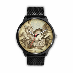Image of Limited Edition Vintage Inspired Custom Watch Alice in Wonderland Mad Hatter & Mad Hare Tea Party 10.2
