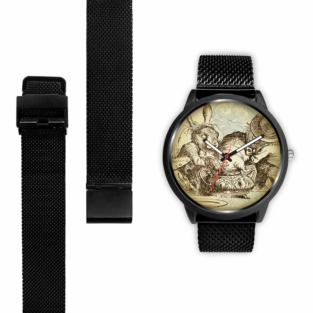 Limited Edition Vintage Inspired Custom Watch Alice in Wonderland Mad Hatter & Mad Hare Tea Party 10.2
