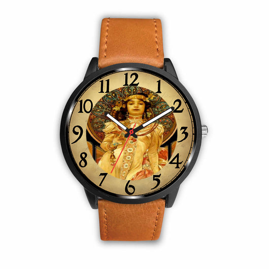 Limited Edition Vintage Inspired Custom Watch Alfred Mucha Clock 1.15