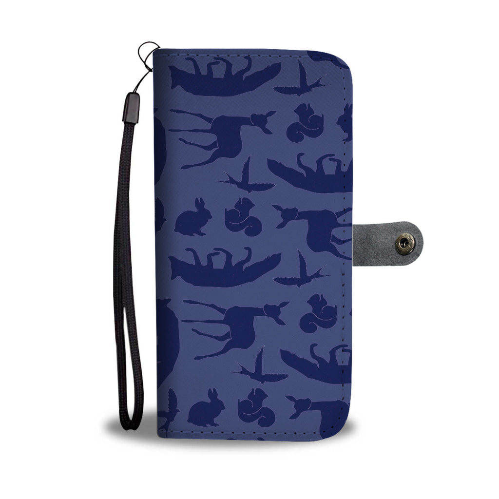 Custom Phone Wallet Available For All Phone Models Snow White Woodland Creature Blue Phone Wallet - STUDIO 11 COUTURE