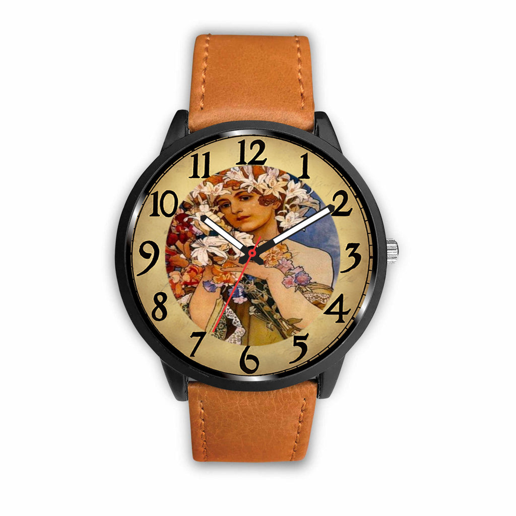 Limited Edition Vintage Inspired Custom Watch Alfred Mucha Clock 1.27