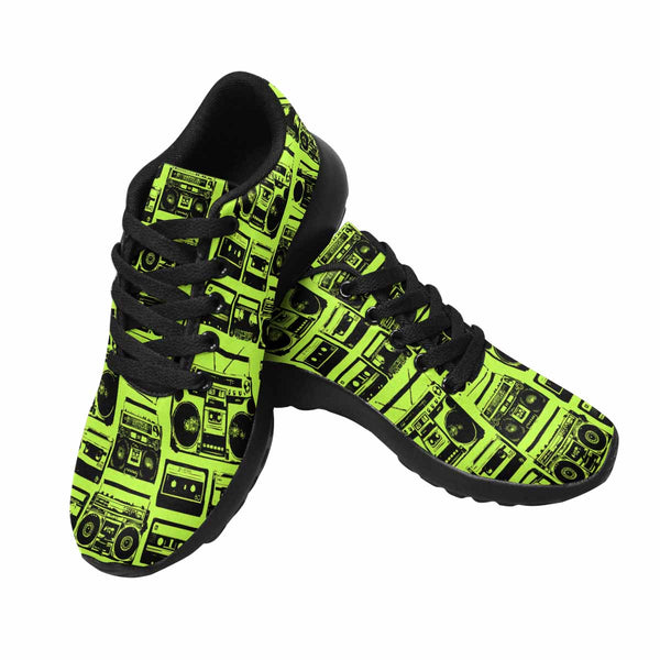 Model020 Women's Sneaker 80s Boombox Green and Black - STUDIO 11 COUTURE