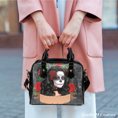 Sugar Skull (A7) Theme Women Fashion Shoulder Handbag Black Vegan Faux Leather