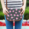 Image of Ballerina Rose (A8) Crossbody Shoulder Canvas Leather Saddle Bag