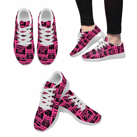 Model020 Women's Sneaker 80s Boombox Hot Pink and Black - STUDIO 11 COUTURE