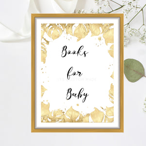 Books for Baby Party Sign - Girl Baby Shower Decorations Sign - Pink Floral Baby Shower Decor Sign - Book Basket Party Sign for Baby Shower - Gold Geometric Decor Signs