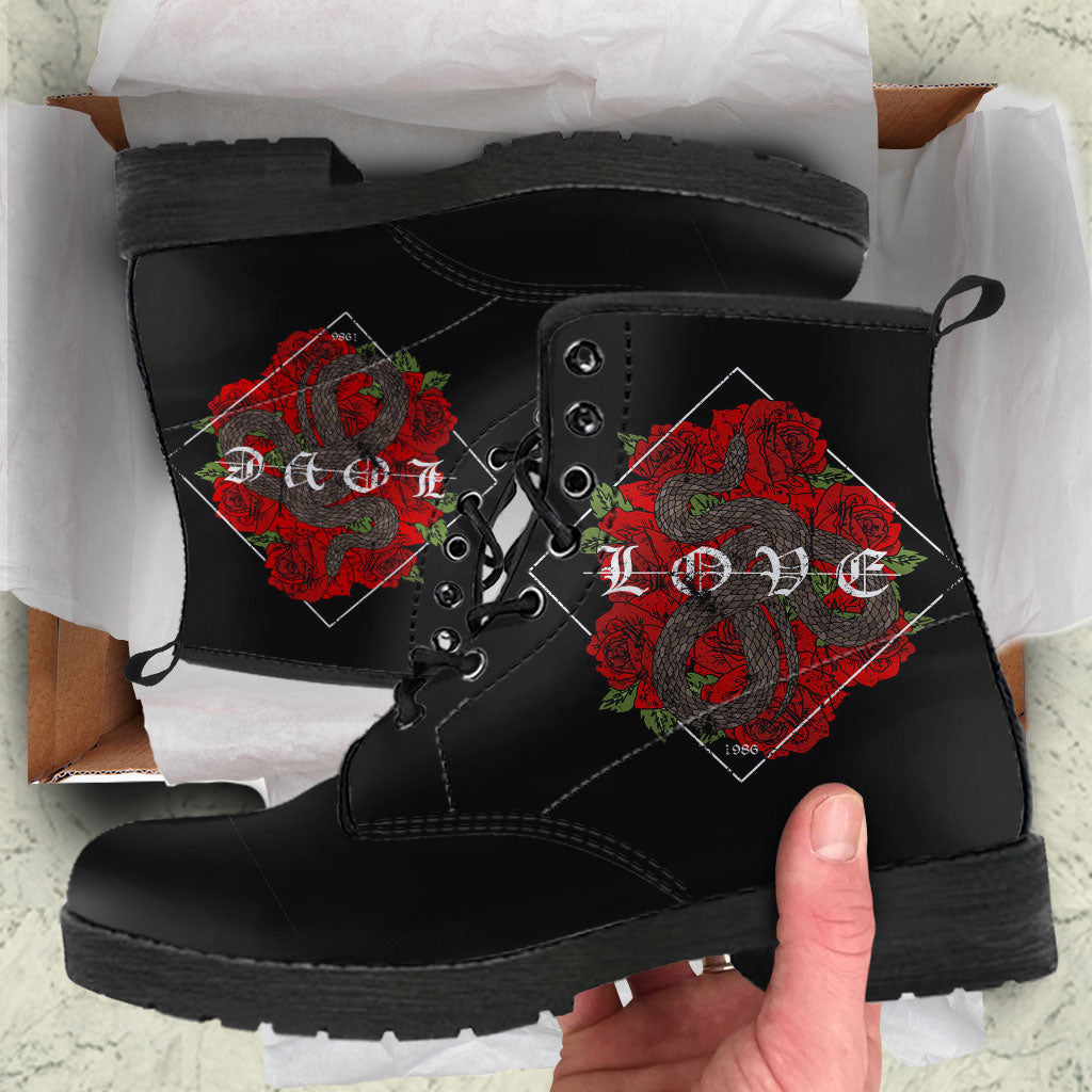Snake And Rose Womens Leather Boots