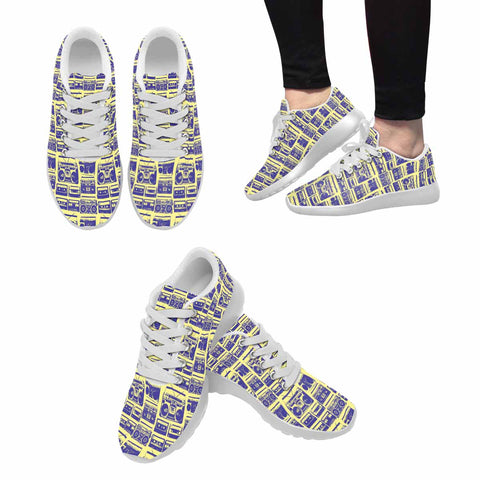 Model020 Women's Sneaker 80s Boombox Yellow and Blue - STUDIO 11 COUTURE