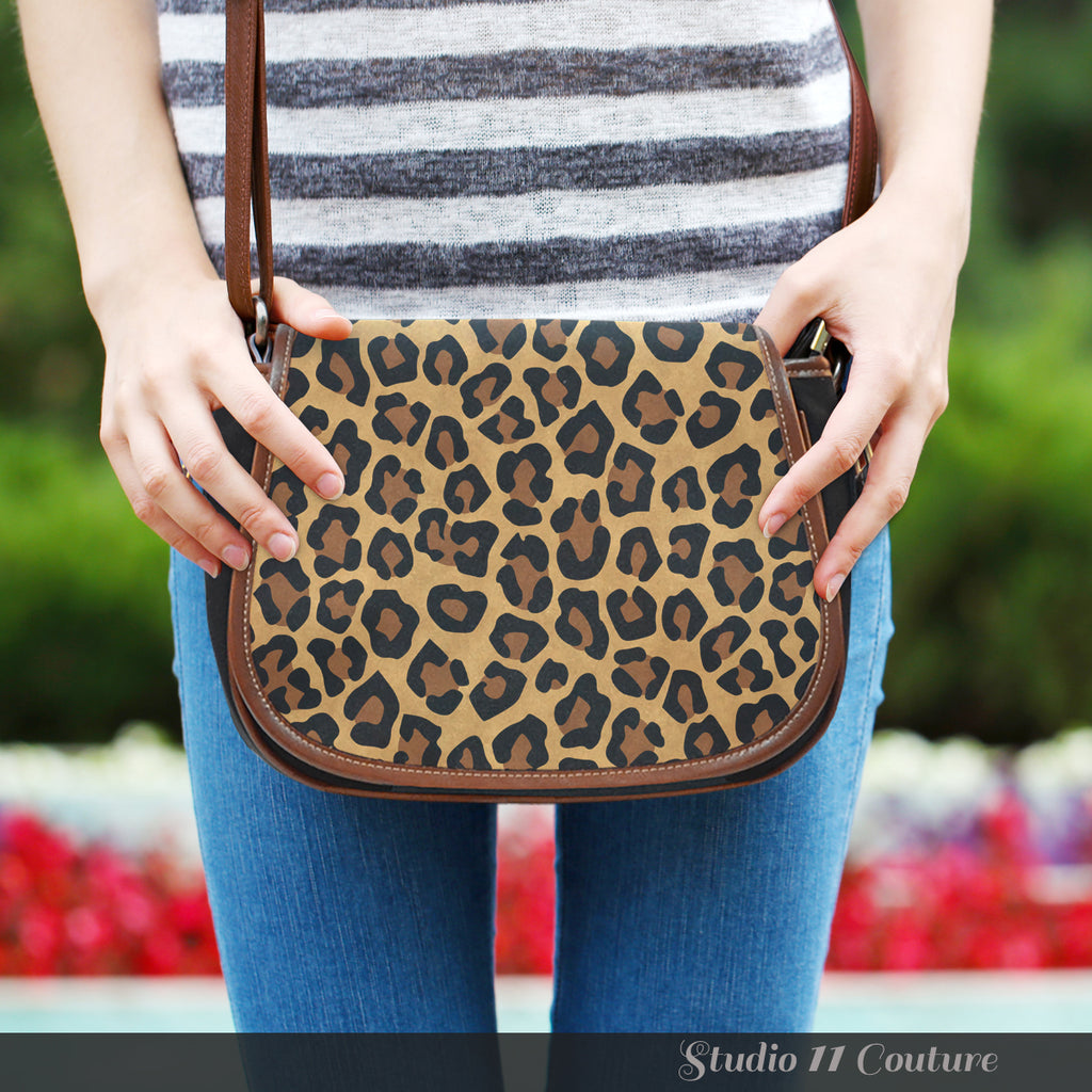 Animal Prints Cheetah 2 Crossbody Shoulder Canvas Leather Saddle Bag