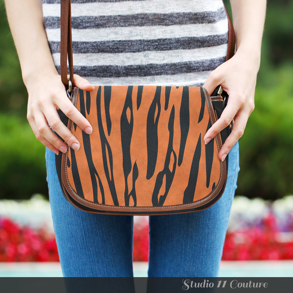 Animal Prints Tiger Stripes Crossbody Shoulder Canvas Leather Saddle Bag