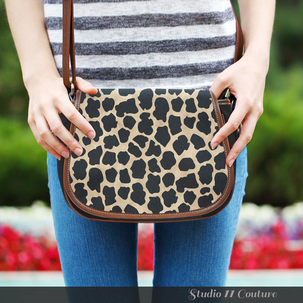 Animal Prints White Leopard Leather Saddle Bag - STUDIO 11 COUTURE