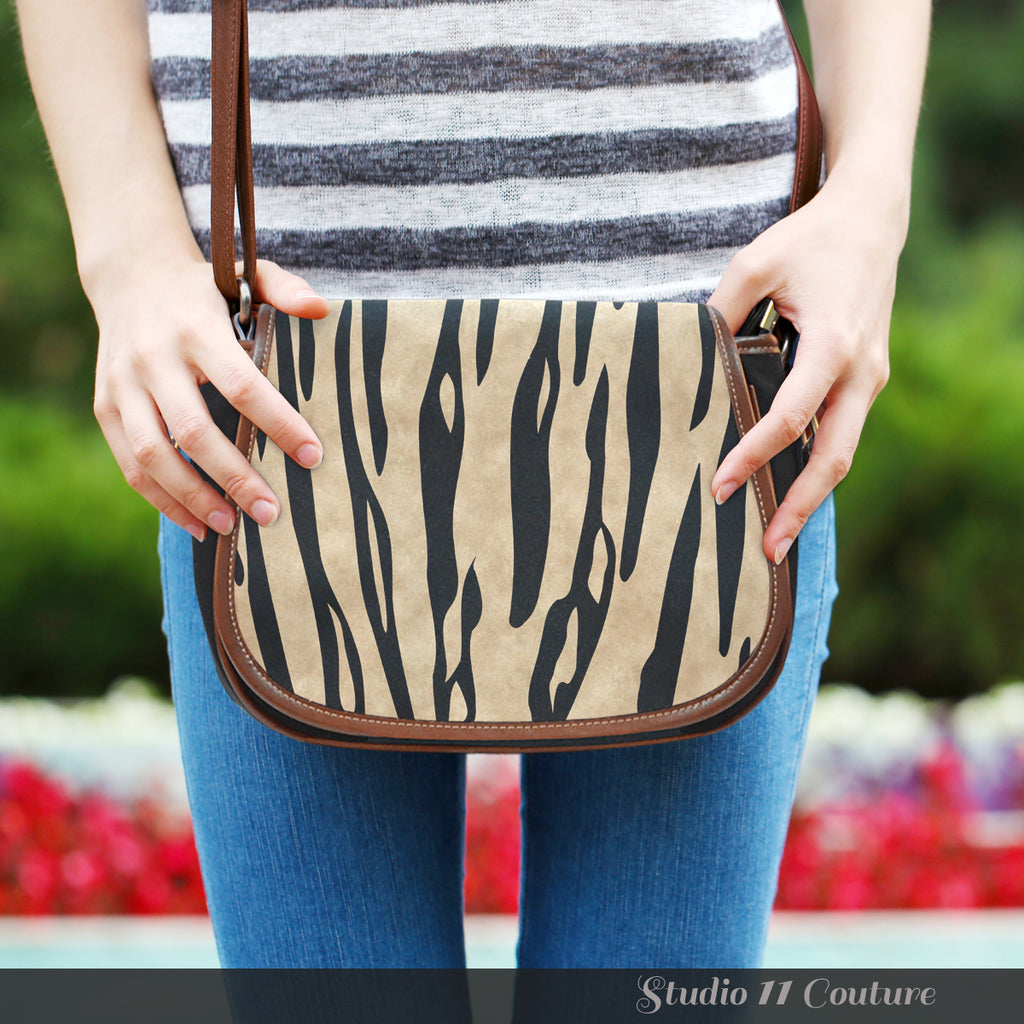 Animal Prints White Tiger Stripes Leather Saddle Bag - STUDIO 11 COUTURE