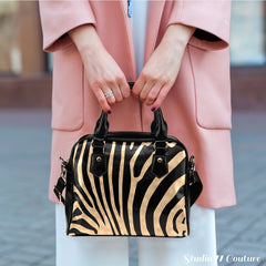 Animal Prints Zebra Theme Women Fashion Shoulder Handbag Black Vegan Faux Leather