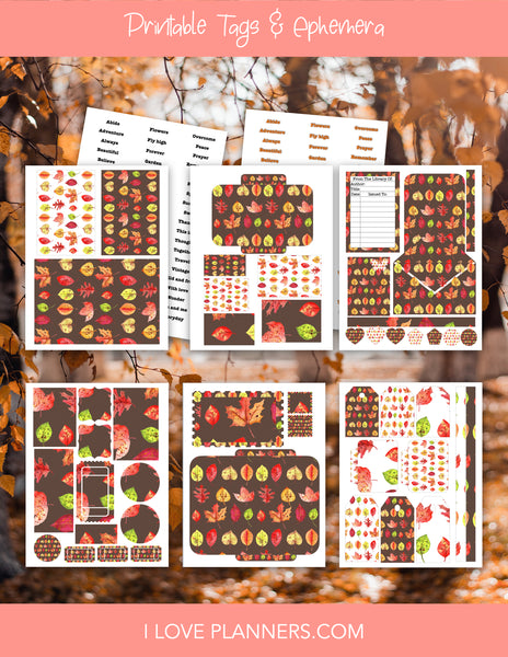 Fall Tags & Ephemera Digital Printable, Stationary, Scrapbooking, Planner and Journal, Digital Journal, Digital Planner Stickers
