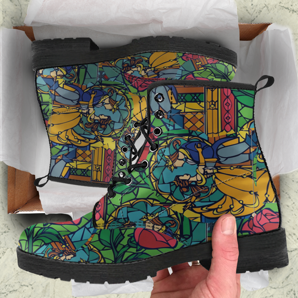 Beauty And The Beast Stained Glass Womens Leather Boots