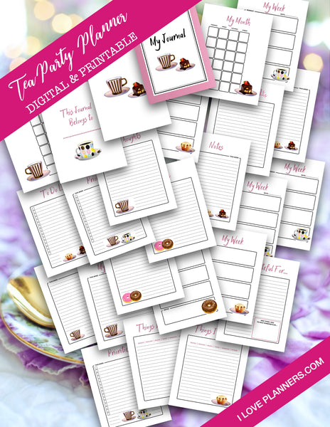 Tea Party Printable Planner and Journal/ GoodNotes, Xodo, Digital Journal, iPad Planner, tablet Planner Digital Planner Stickers