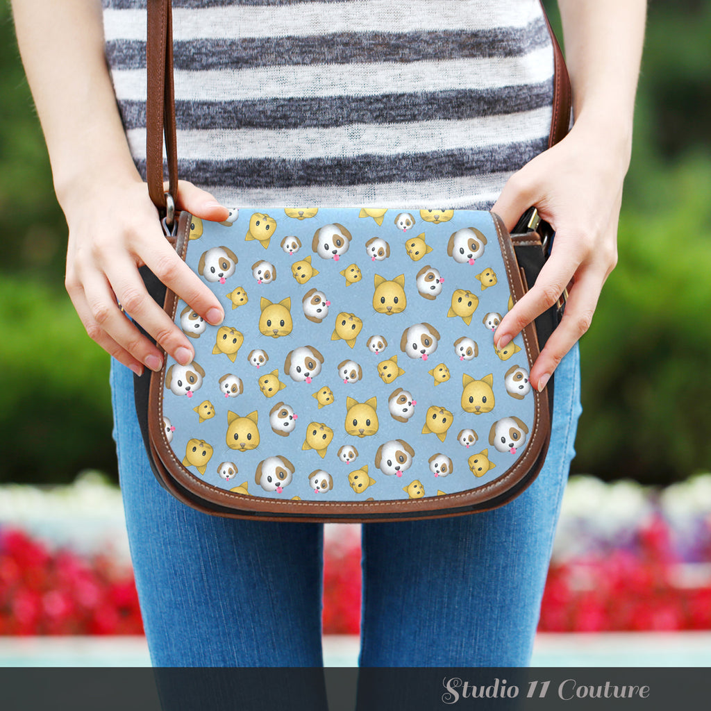 Emojis Cats And Dogs Crossbody Shoulder Canvas Leather Saddle Bag