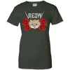 Image of Meow Cat And Roses Ladies Tee