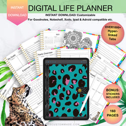 Leopard Teal Undated Digital Life Planner/ GoodNotes, Xodo, Digital Journal, iPad Planner, tablet Planner Digital Planner Stickers