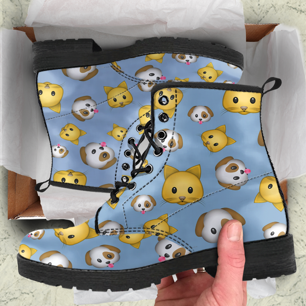 Emoji Cats And Dogs Womens Leather Boots