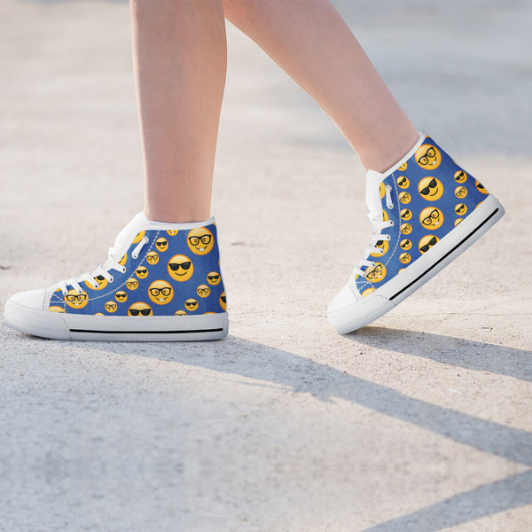 Emoji Glasses Womens High Top Shoes