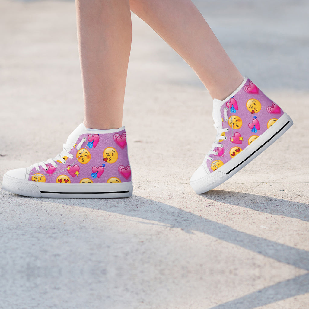 Emoji Love Womens High Top Shoes
