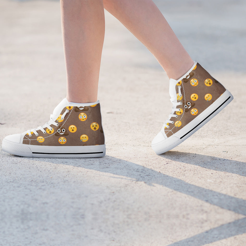 Emoji Poop Womens High Top Shoes