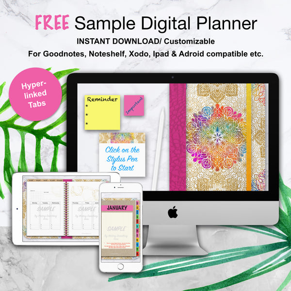 SAMPLE LITE Undated Digital Planner/ GoodNotes, Xodo, Digital Journal, iPad Planner, tablet Planner Digital Planner Stickers