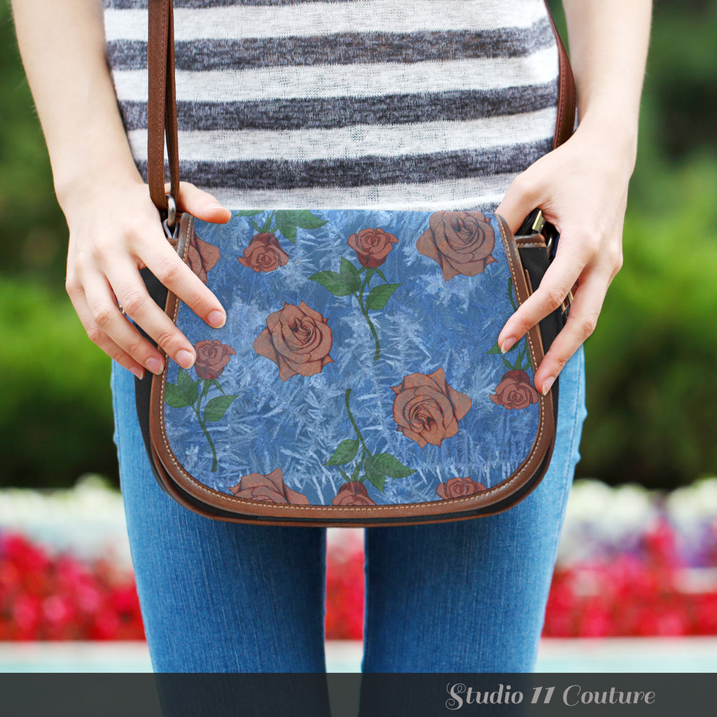 Beauty And Beast Frosted Rose Leather Saddle Bag