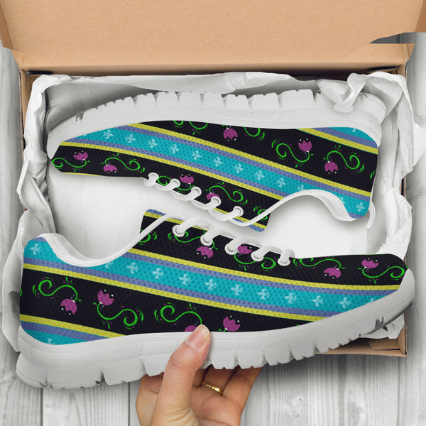 Frozen Purple Flower Womens Athletic Sneakers