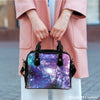 Image of Galaxy #2 Theme Women Fashion Shoulder Handbag Black Vegan Faux Leather - STUDIO 11 COUTURE