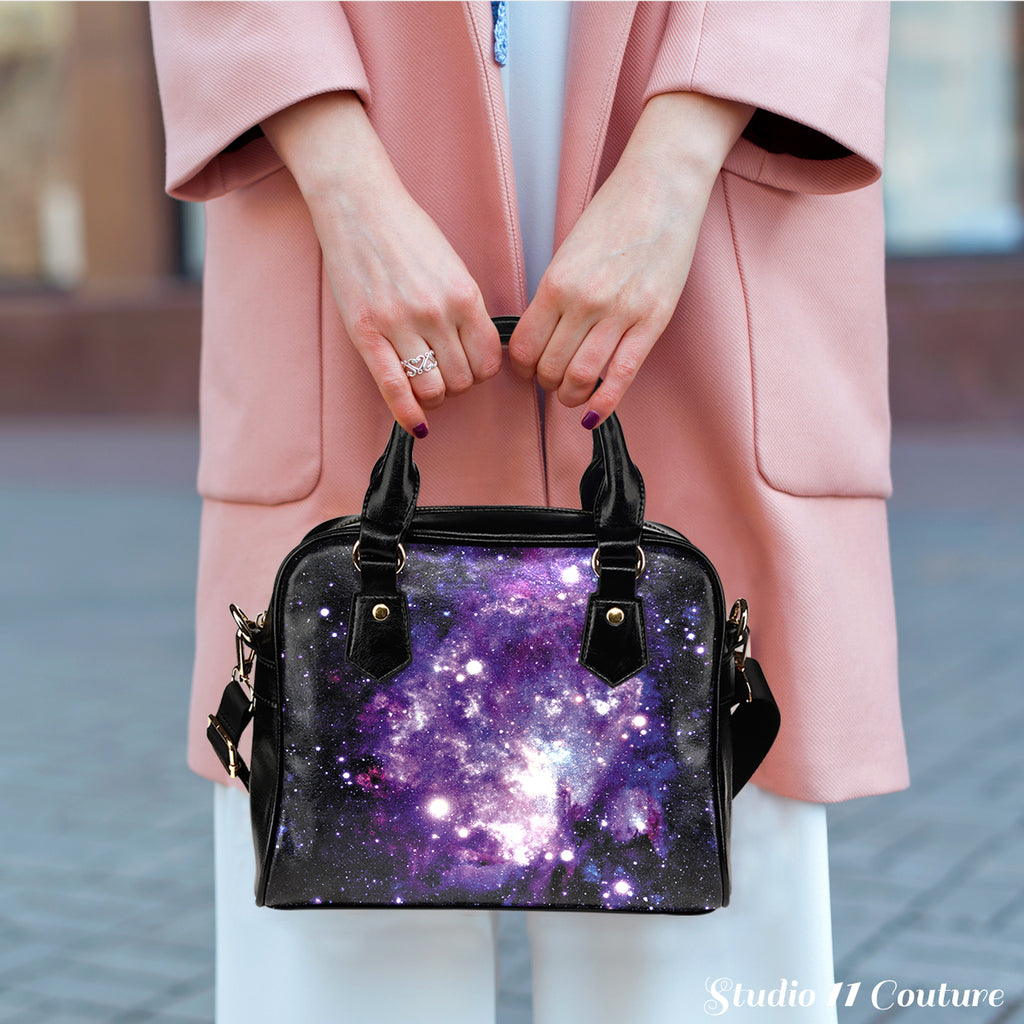 Galaxy #3 Theme Women Fashion Shoulder Handbag Black Vegan Faux Leather - STUDIO 11 COUTURE