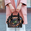 Image of Galaxy #5 Theme Women Fashion Shoulder Handbag Black Vegan Faux Leather - STUDIO 11 COUTURE