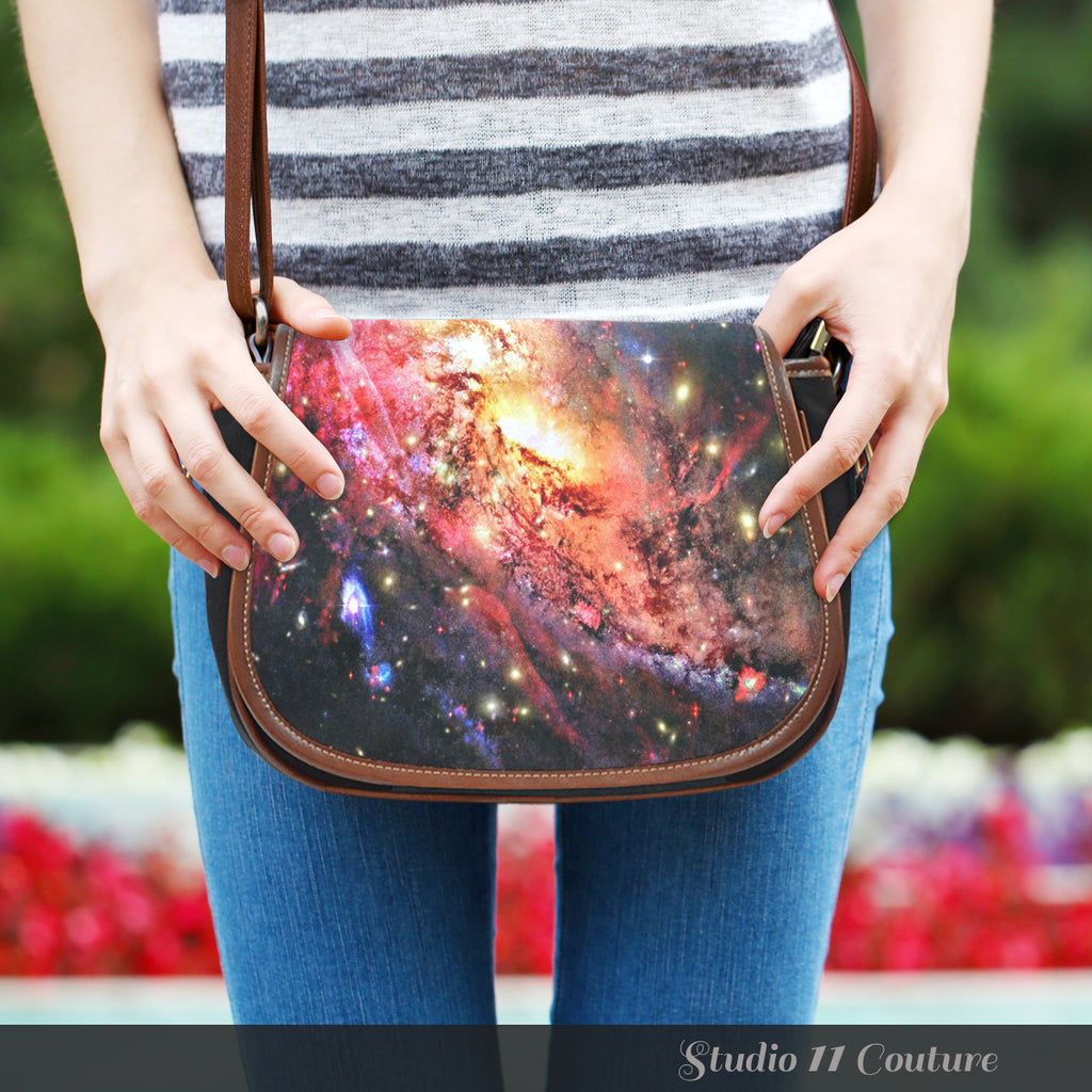 Galaxy 4 Crossbody Shoulder Canvas Leather Saddle Bag - STUDIO 11 COUTURE