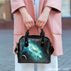 Image of Galaxy #7 Theme Women Fashion Shoulder Handbag Black Vegan Faux Leather