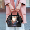 Image of Galaxy #8 Theme Women Fashion Shoulder Handbag Black Vegan Faux Leather - STUDIO 11 COUTURE