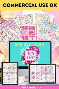 Easter Planner Sticker Bundle/ For Printable Planners/ For Digital Planners - Easily Make Planner Stickers Super Fast. Includes Commercial Use. No.1