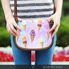 Image of Ice Cream 1 Crossbody Shoulder Canvas Leather Saddle Bag